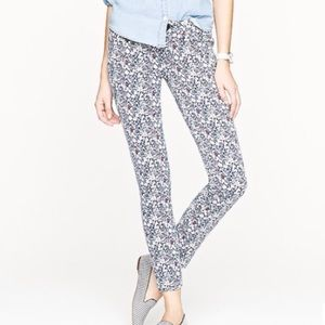 J. Crew Liberty Floral Toothpick Ankle Jeans 26
